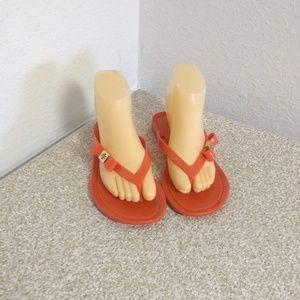 Tory Burch Orange Rubber Flip Flop